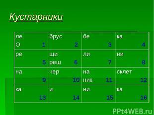 Кустарники ле О 1 брус 2 бе 3 ка 4 ре 5 щи реш 6 ли 7 ни 8 на 9 чер 10 на ник 11