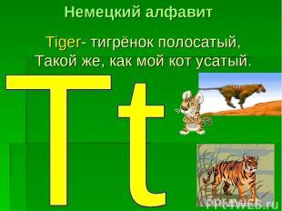 Tiger- тигрёнок полосатый, Такой же, как мой кот усатый. Немецкий алфавит