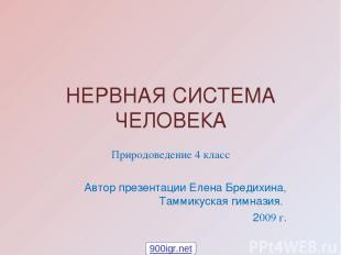 НЕРВНАЯ СИСТЕМА ЧЕЛОВЕКА Природоведение 4 класс Автор презентации Елена Бредихин