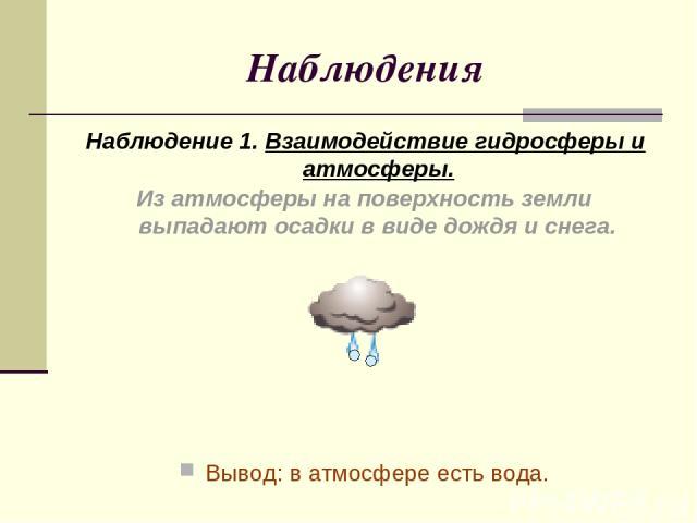 Наблюдения Наблюдение 1. Взаимодействие гидросферы и атмосферы. Вывод: в атмосфере есть вода. Из атмосферы на поверхность земли выпадают осадки в виде дождя и снега.