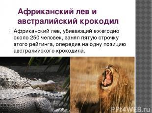 Африканский лев и австралийский крокодил Африканский лев, убивающий ежегодно око