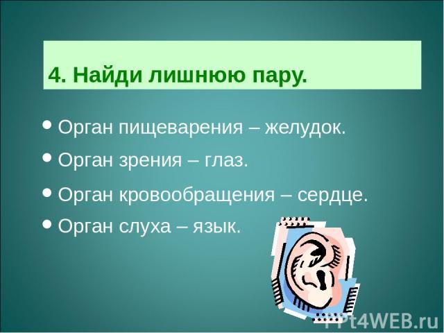 4. Найди лишнюю пару. Орган пищеварения – желудок. Орган зрения – глаз. Орган кровообращения – сердце. Орган слуха – язык.