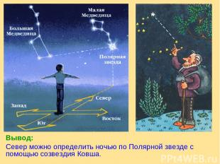 Вывод: Север можно определить ночью по Полярной звезде с помощью созвездия Ковша