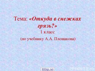 Тема: «Откуда в снежках грязь?» 1 класс (по учебнику А.А. Плешакова) 900igr.net