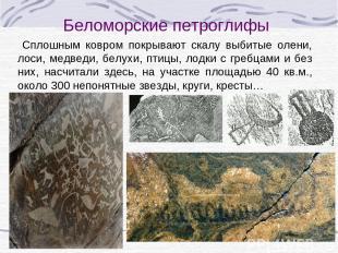 Сплошным ковром покрывают скалу выбитые олени, лоси, медведи, белухи, птицы, лод