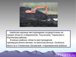 * Наиболее крупные месторождения сосредоточены на севере области, в Мариинском,