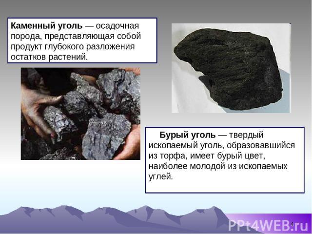 * Бурый уголь — твердый ископаемый уголь, образовавшийся из торфа, имеет бурый цвет, наиболее молодой из ископаемых углей. Каменный уголь — осадочная порода, представляющая собой продукт глубокого разложения остатков растений.