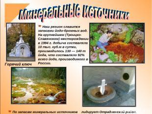 Наш регион славится запасами йодо-бромных вод. На крупнейшем (Троицко-Славянском