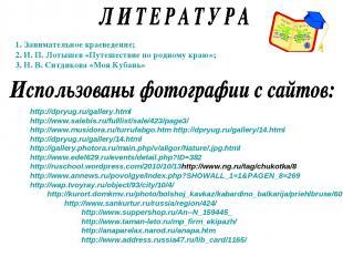 1. Занимательное краеведение; 2. И. П. Лотышев «Путешествие по родному краю»; 3.