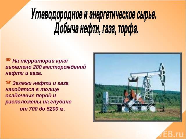 На территории края выявлено 280 месторождений нефти и газа. Залежи нефти и газа находятся в толще осадочных пород и расположены на глубине от 700 до 5200 м.