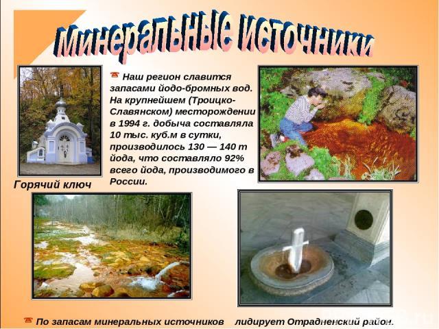 Наш регион славится запасами йодо-бромных вод. На крупнейшем (Троицко-Славянском) месторождении в 1994 г. добыча составляла 10 тыс. куб.м в сутки, производилось 130— 140 т йода, что составляло 92% всего йода, производимого в России. По запасам мине…