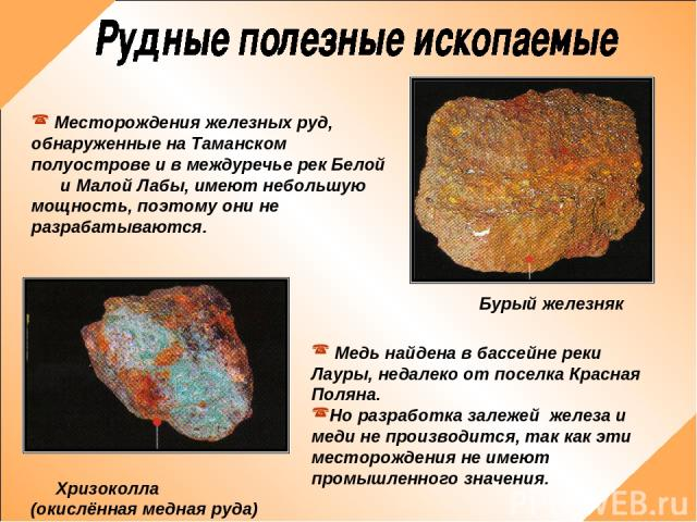 Месторождения железных руд, обнаруженные на Таманском полуострове и в междуречье рек Белой и Малой Лабы, имеют небольшую мощность, поэтому они не разрабатываются. Медь найдена в бассейне реки Лауры, недалеко от поселка Красная Поляна. Но разработка …