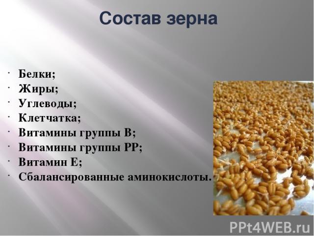 Состав зерна Белки; Жиры; Углеводы; Клетчатка; Витамины группы В; Витамины группы PP; Витамин Е; Сбалансированные аминокислоты.