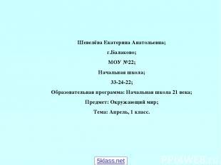 Шевелёва Екатерина Анатольевна; г.Балаково; МОУ №22; Начальная школа; 33-24-22;