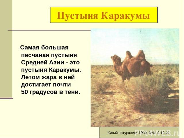 Пустыня Каракумы Самая большая песчаная пустыня Средней Азии - это пустыня Каракумы. Летом жара в ней достигает почти 50 градусов в тени. Юный натуралист,1989.-№6.-С.19-21.