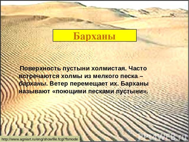 Барханы Поверхность пустыни холмистая. Часто встречаются холмы из мелкого песка – барханы. Ветер перемещает их. Барханы называют «поющими песками пустыни». http://www.agniart.ru/eng/showfile.fcgi?fsmode
