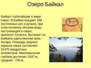 Озеро Байкал Байкал глубочайшее в мире озеро. В Байкал впадает 336 постоянных ре