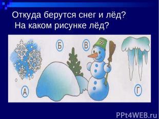 Откуда берутся снег и лёд? На каком рисунке лёд?