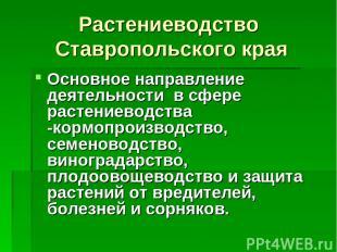 Растениеводство Ставропольского края Основное направление деятельности в сфере р