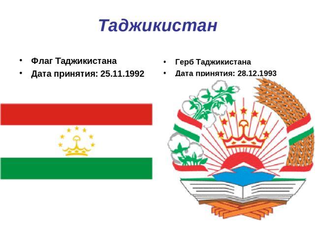 Таджикистан Флаг Таджикистана Дата принятия: 25.11.1992 Герб Таджикистана Дата принятия: 28.12.1993