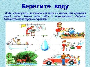 Берегите воду Вода используется человеком для питья и мытья, для орошения полей,