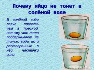 Почему яйцо не тонет в солёной воде В солёной воде легче плавать чем в пресной,