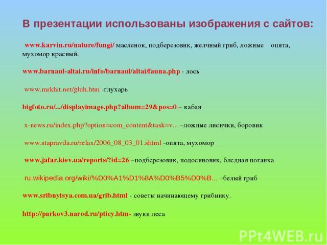 В презентации использованы изображения с сайтов: www.karvin.ru/nature/fungi/ масленок, подберезовик, желчный гриб, ложные опята, мухомор красный. www.barnaul-altai.ru/info/barnaul/altai/fauna.php - лось www.mrkhit.net/gluh.htm -глухарь bigfoto.ru/..…