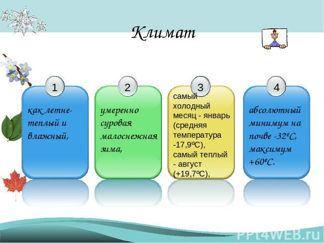Климат самый холодный месяц - январь (средняя температура -17,9ºС), самый теплый - август (+19,7ºС),