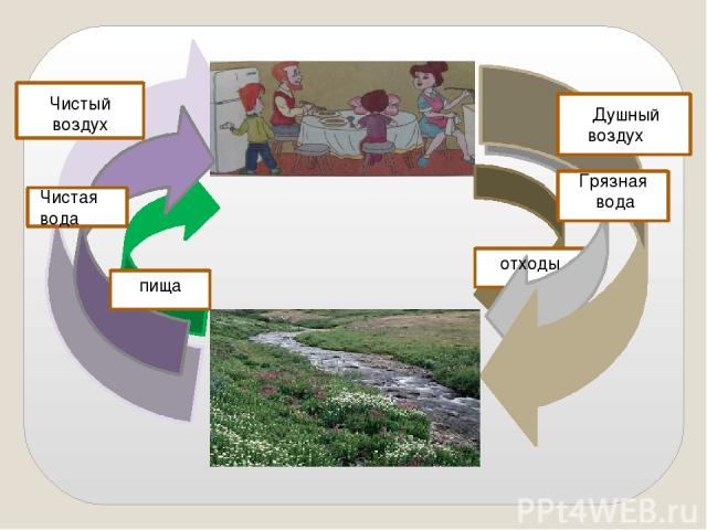 Душный воз у Душный воздух Грязная вода отходы Чистый воздух Чистая вода пища