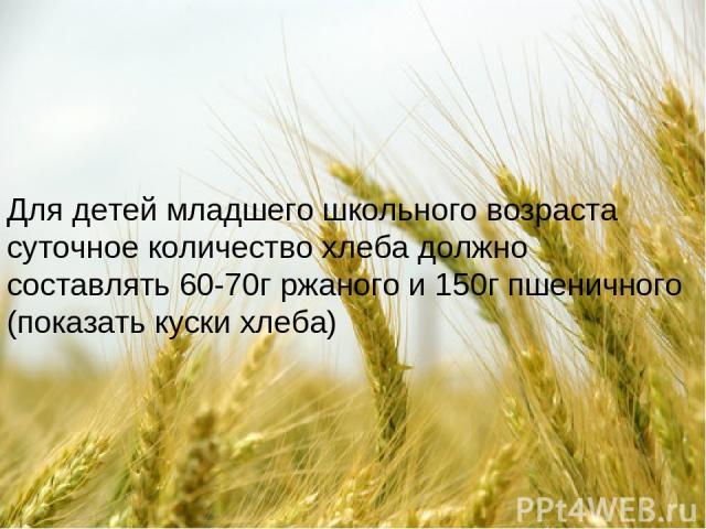 Для детей младшего школьного возраста суточное количество хлеба должно составлять 60-70г ржаного и 150г пшеничного (показать куски хлеба)