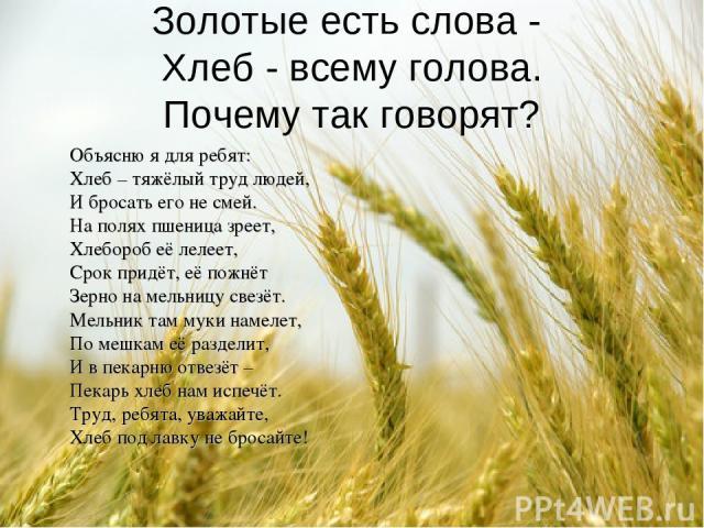 Золотые есть слова - Хлеб - всему голова. Почему так говорят? Объясню я для ребят: Хлеб – тяжёлый труд людей, И бросать его не смей. На полях пшеница зреет, Хлебороб её лелеет, Срок придёт, её пожнёт Зерно на мельницу свезёт. Мельник там муки намеле…