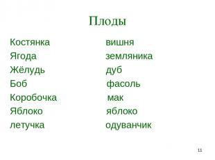 * Плоды Костянка вишня Ягода земляника Жёлудь дуб Боб фасоль Коробочка мак Яблок