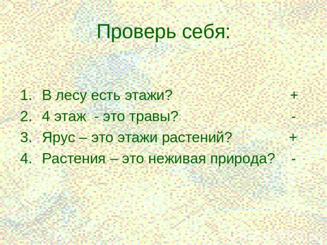 * Проверь себя: В лесу есть этажи? + 4 этаж - это травы? - Ярус – это этажи растений? + Растения – это неживая природа? -