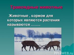 Травоядные животные Животные , кормом для которых являются растения называются …