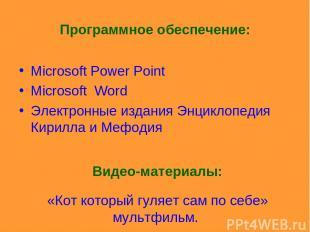 Программное обеспечение: Microsoft Power Point Microsoft Word Электронные издани