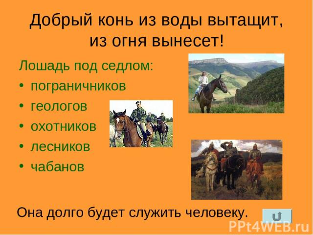 Добрый конь из воды вытащит, из огня вынесет! Лошадь под седлом: пограничников геологов охотников лесников чабанов Она долго будет служить человеку.