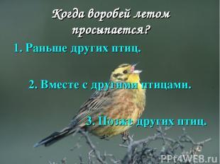 Когда воробей летом просыпается? 1. Раньше других птиц. 2. Вместе с другими птиц