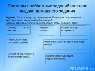 Примеры проблемных заданий на этапе выдачи домашнего задания Задание. В степи жи