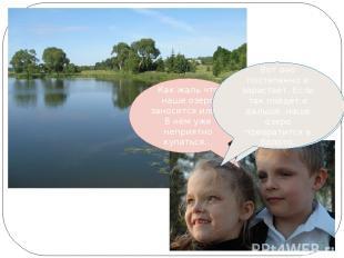 Как жаль что наше озеро заносится илом! В нём уже неприятно купаться… Ты права.