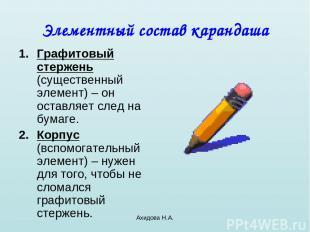 Ахидова Н.А. Элементный состав карандаша Графитовый стержень (существенный элеме