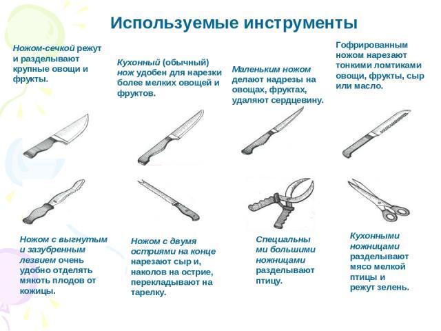 Используемые инструменты Ножом с выгнутым и зазубренным лезвием очень удобно отделять мякоть плодов от кожицы. Ножом с двумя остриями на конце нарезают сыр и, наколов на острие, перекладывают на тарелку. Кухонными ножницами разделывают мясо мелкой п…