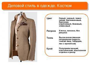 Деловой стиль в одежде. Костюм Цвет Рисунок Ткань Крой Серый, черный, темно-сини