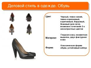 Деловой стиль в одежде. Обувь Цвет Материал Форма Черный, темно-синий, темно-кор