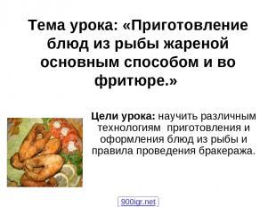 Тема урока: «Приготовление блюд из рыбы жареной основным способом и во фритюре.»