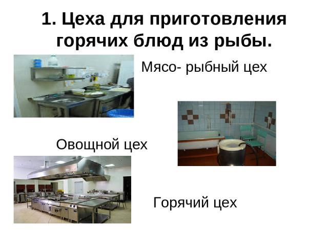 1. Цеха для приготовления горячих блюд из рыбы. Мясо- рыбный цех Овощной цех Горячий цех