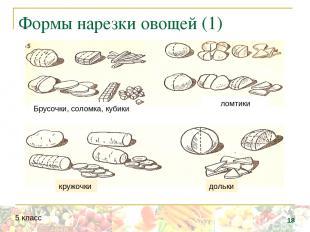 ломтики Брусочки, соломка, кубики дольки кружочки Формы нарезки овощей (1) * 5 к
