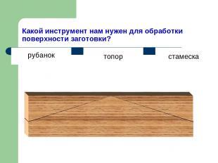Какой инструмент нам нужен для обработки поверхности заготовки? топор стамеска р