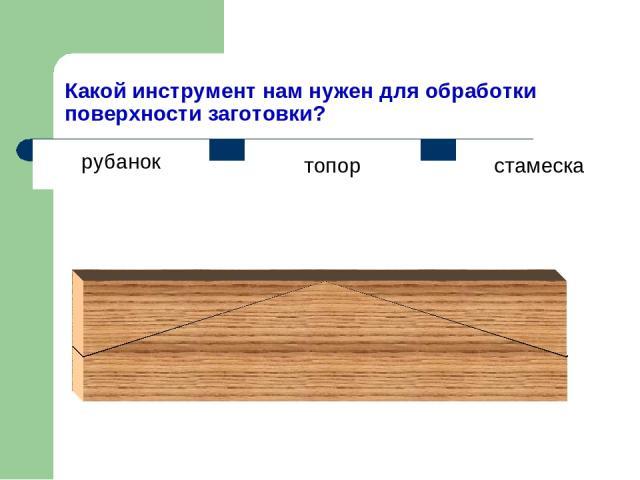 Какой инструмент нам нужен для обработки поверхности заготовки? топор стамеска рубанок