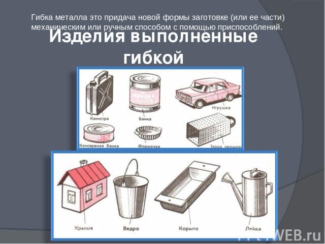 Изделия выполненные гибкой Гибка металла это придача новой формы заготовке (или ее части) механическим или ручным способом с помощью приспособлений.