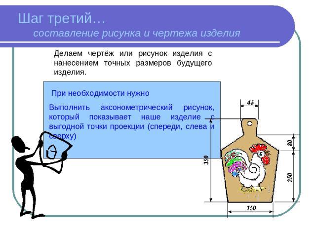 При необходимости нужно Выполнить аксонометрический рисунок, который показывает наше изделие с выгодной точки проекции (спереди, слева и сверху) Делаем чертёж или рисунок изделия с нанесением точных размеров будущего изделия. Шаг третий… составление…